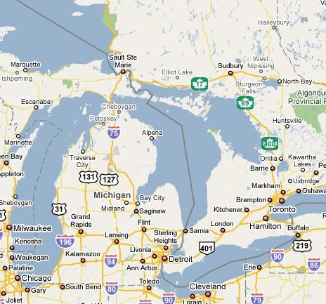 Map Michigan Canada Border Birding Michigan & Ontario 2008